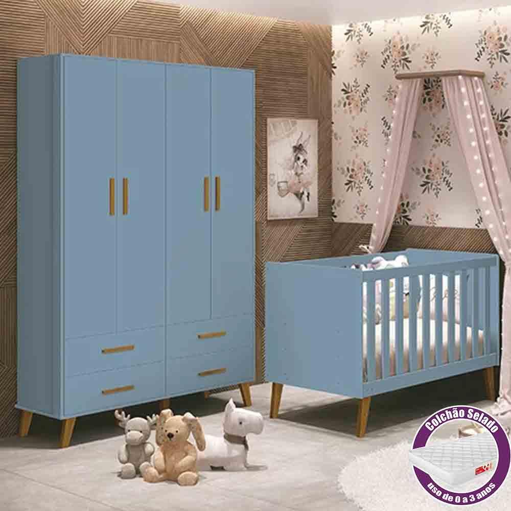 Quarto Infantil com Guarda Roupa e Berço Com Colchão Retrô Ayla Azul Fosco – Reller Móveis