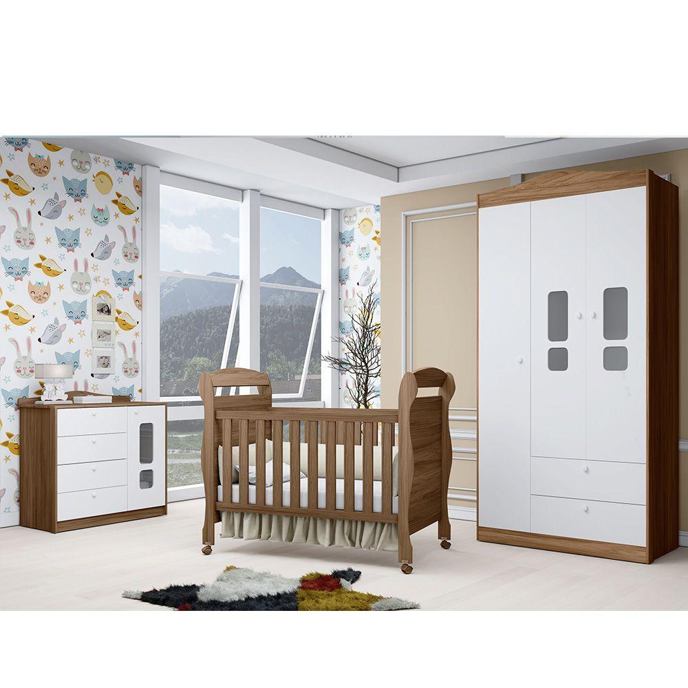 Quarto Infantil Crytal Com Guarda Roupa 3 Portas + Cômoda + Berço Mini Cama - Reller