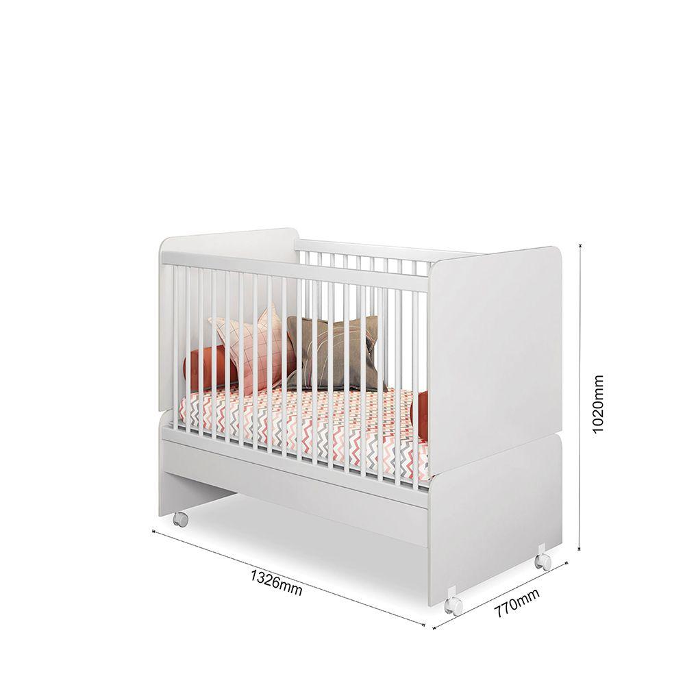 Quarto Infantil Alice com Guarda Roupa + Cômoda + Berço Mini Cama SR + Colchão - Phoenix