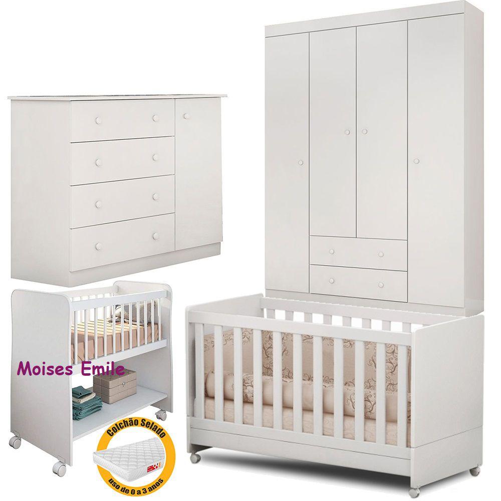 Quarto Infantil Helena Guarda Roupa + Cômoda + Berço Mini Cama + Berço Moises + Colchão - EM Móveis