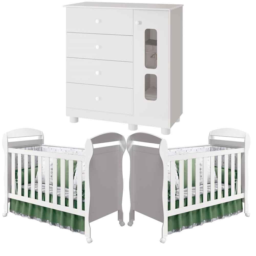 Quarto Infantil Katatau Com Cômoda + Berço Dan - kit Gêmeos - Reller