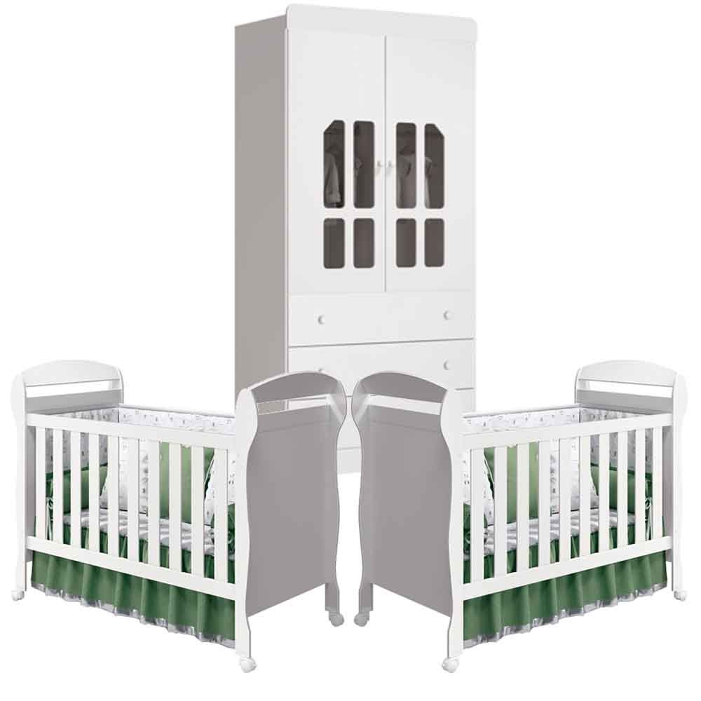 Quarto Infantil Katatau Com Guarda Roupa 2 Portas + Berço Dan - Kit Gêmeos - Reller