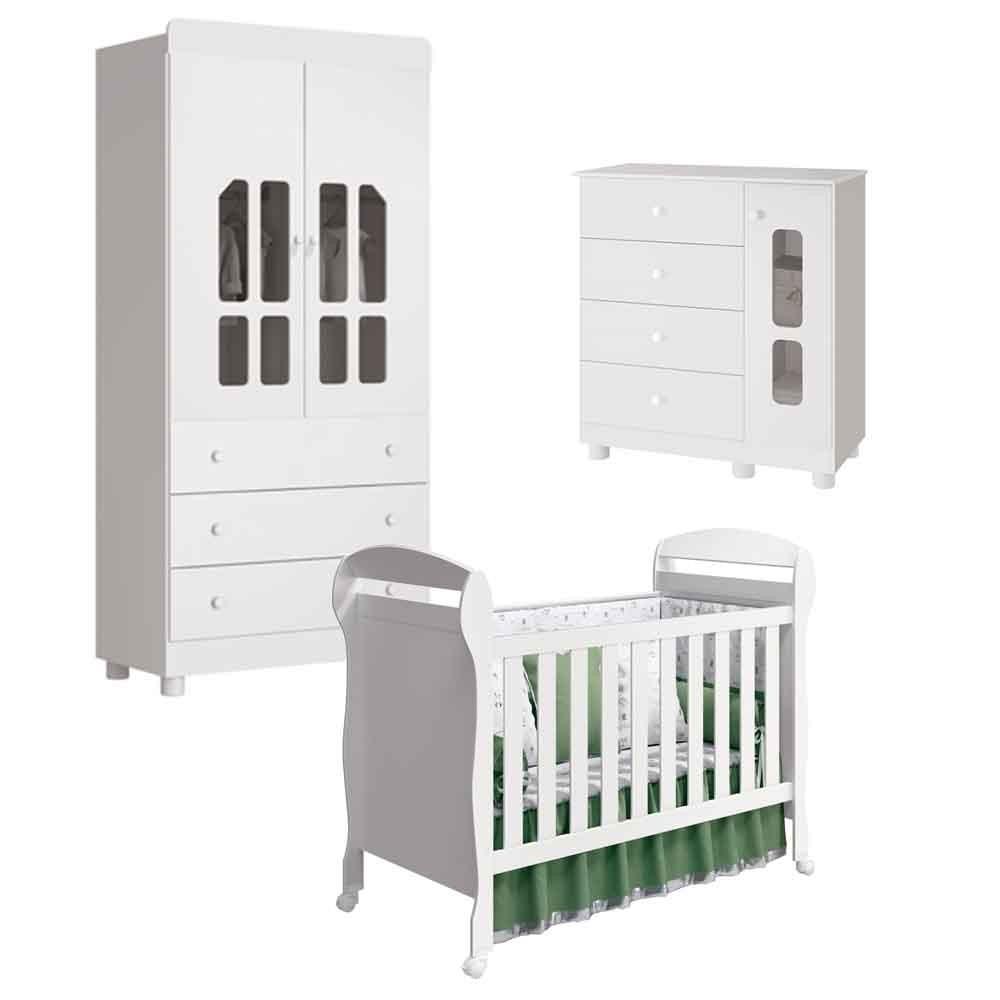 Quarto Infantil Katatau Com Guarda Roupa 2 Portas + Cômoda + Berço Dan  - Reller