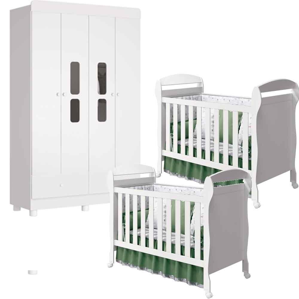Quarto Infantil Katatau Com Guarda Roupa 4 Portas + Berço Dan - Kit Gêmeos - Reller