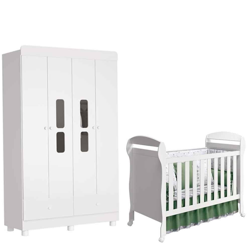 Quarto Infantil Katatau Com Guarda Roupa 4 Portas + Berço Dan  - Reller