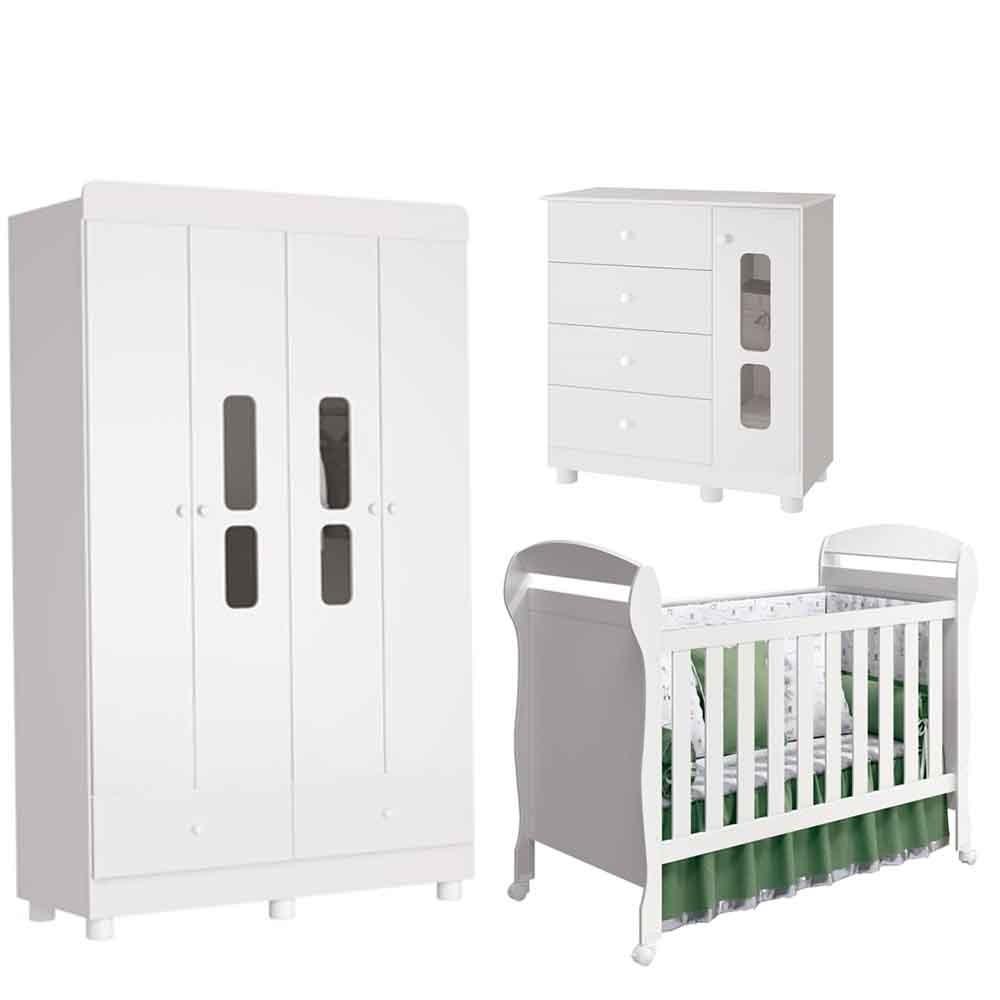 Quarto Infantil Katatau Com Guarda Roupa 4 Portas + Cômoda + Berço Dan  - Reller