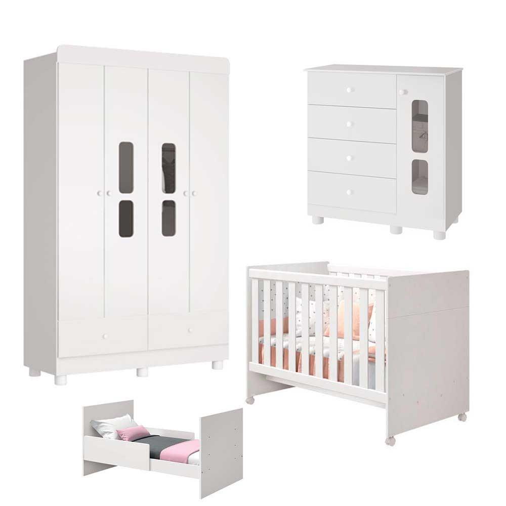 Quarto Infantil Katatau Com Guarda Roupa 4 Portas + Cômoda + Berço  - Reller