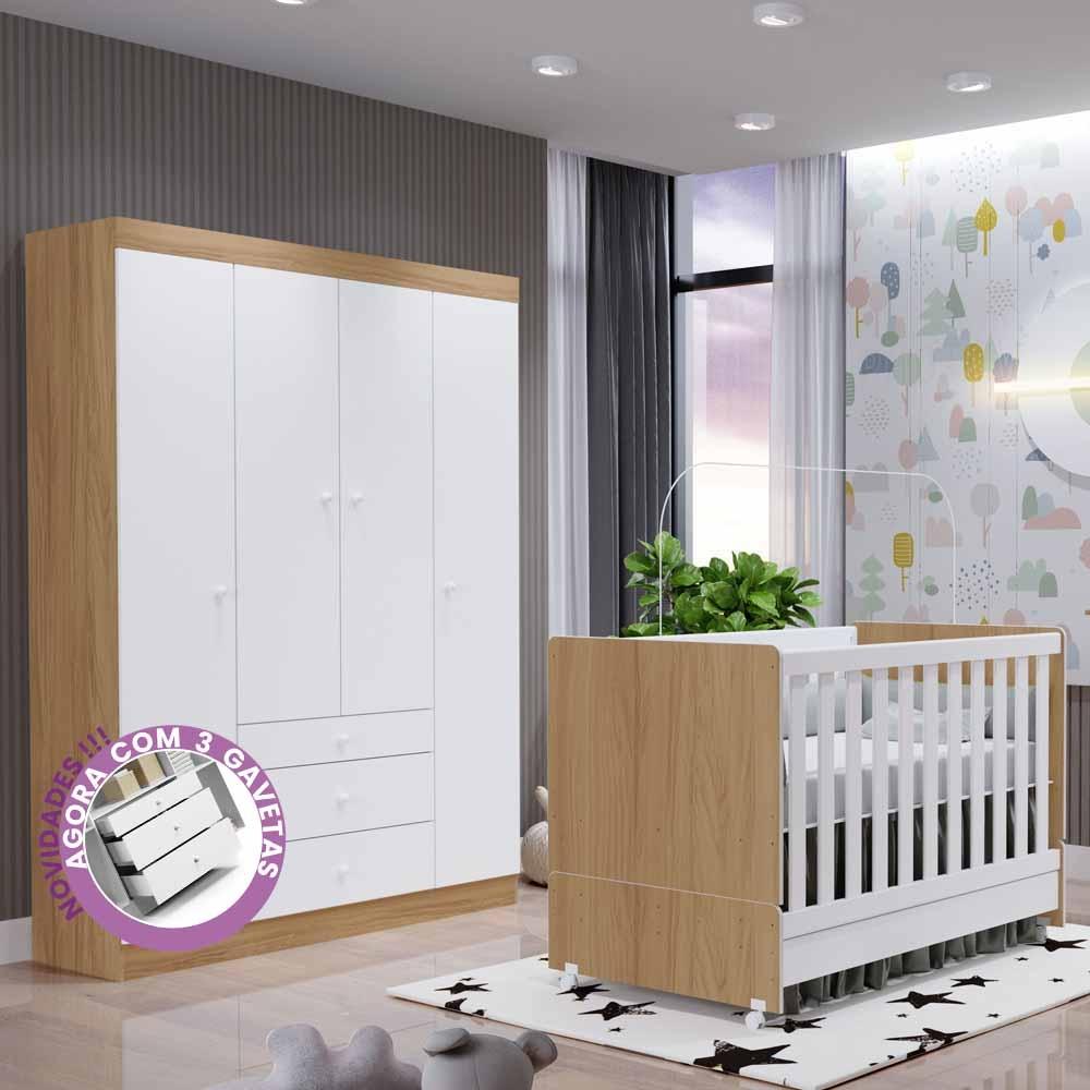 Quarto Infantil New Helena com Guarda Roupa 4 Portas 3 Gavetas + Berço Mini Cama – EM Moveis