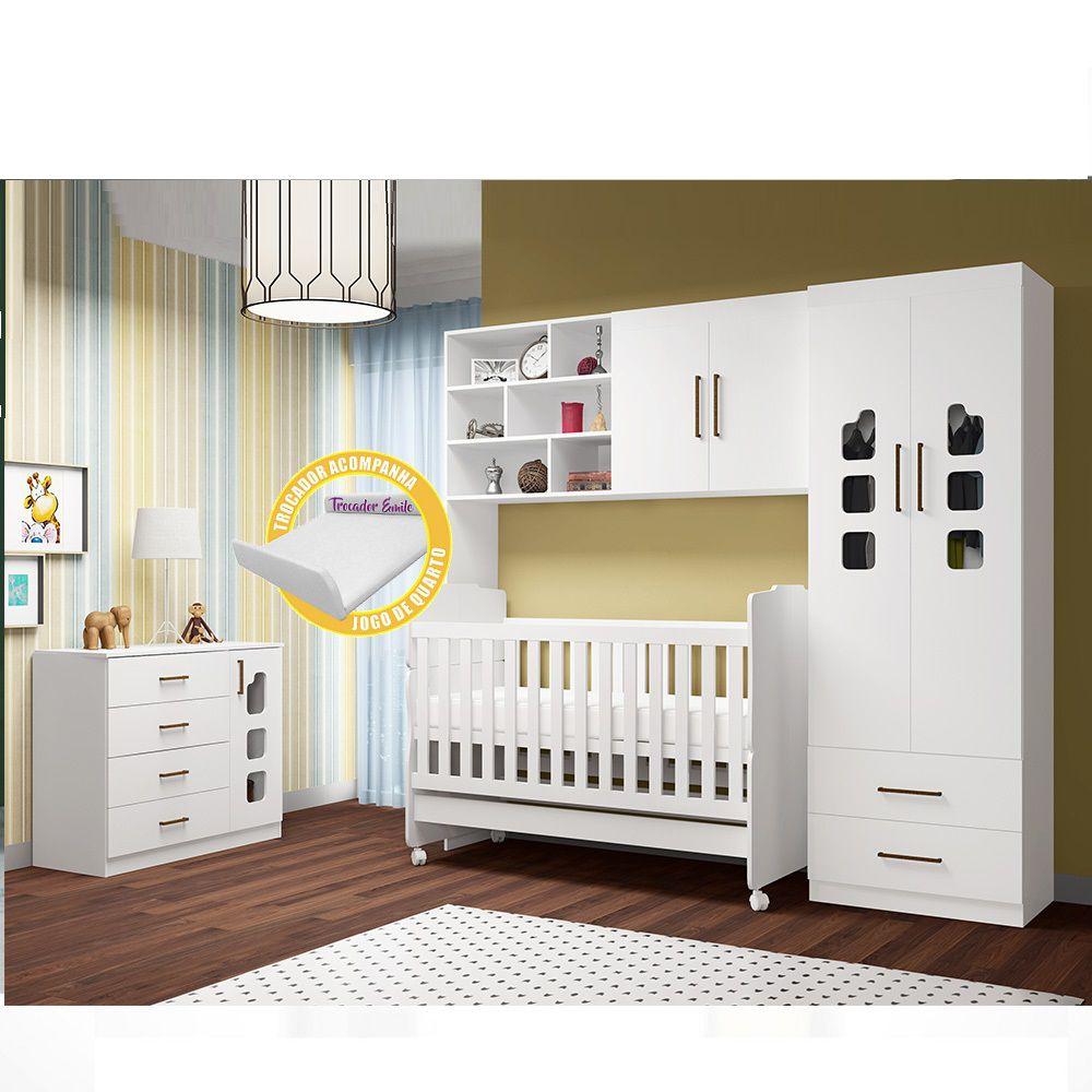 Quarto Infantil Selena com Guarda Roupa 2 Portas + Módulo Aéreo com 2 Portas + Cômoda + Berço 230