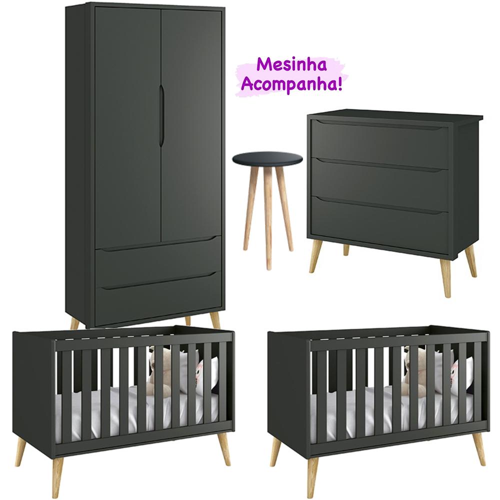 Quarto Infantil Theo Retro Com Guarda Roupa 2 Portas + Cômoda + Berço - Kit Gêmeos - Reller
