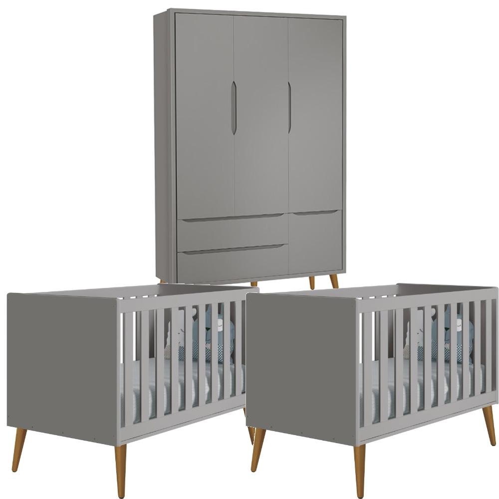 Quarto Infantil Theo Retro com Guarda Roupa 3 Portas + Berço Kit Gêmeos - Reller