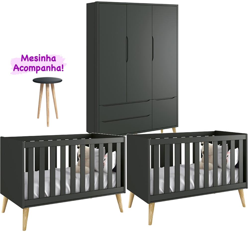 Quarto Infantil Théo Retrô Com Guarda Roupa 3 Portas +Berço Kit Gêmeos + Mesinha - Reller
