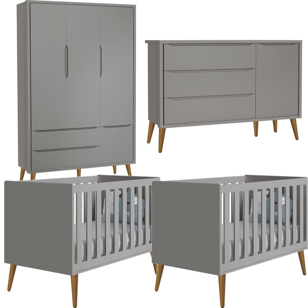 Quarto Infantil Théo Retrô Com Guarda Roupa 3 Portas + Cômoda Sapateira + Berço Kit Gêmeos -  Reller