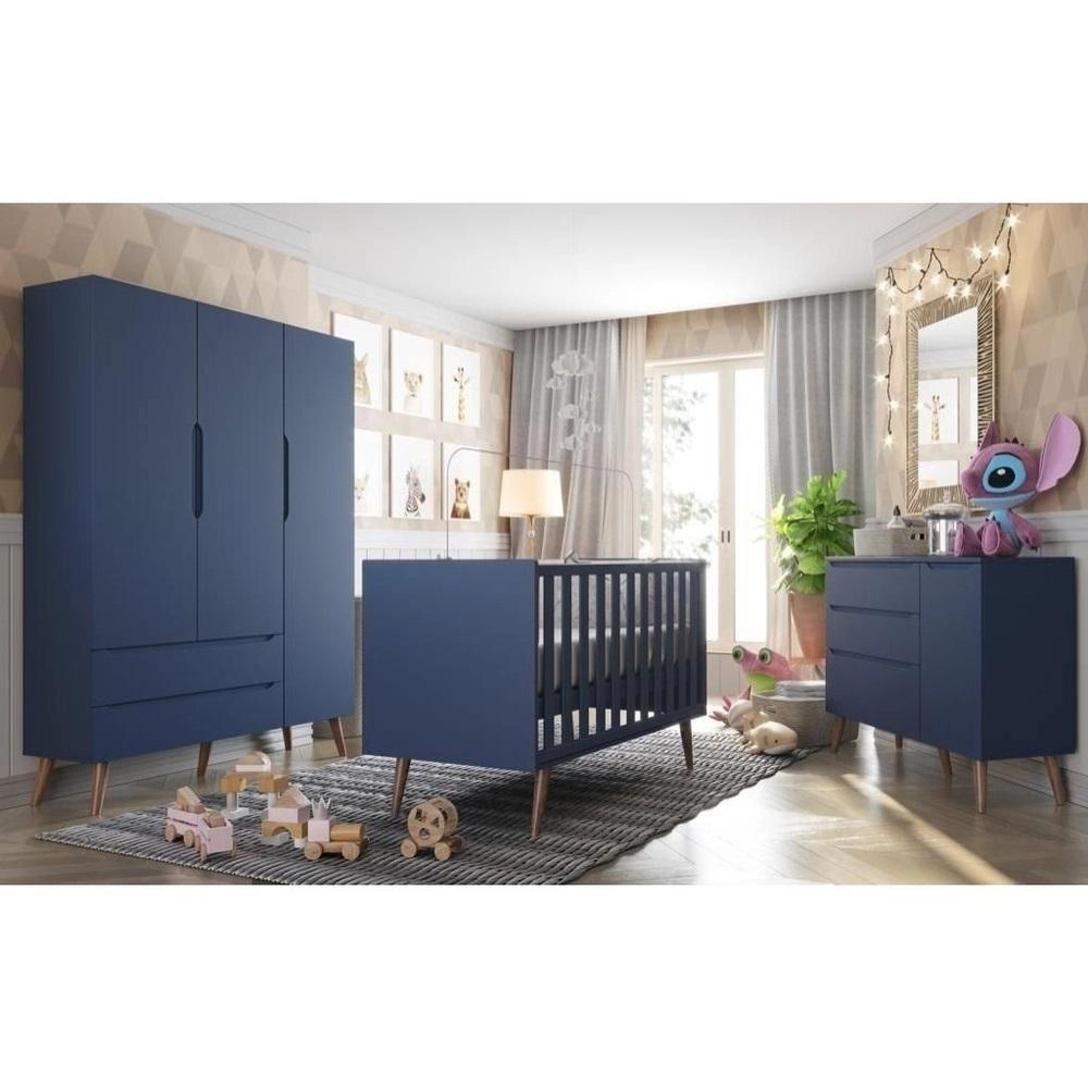 Quarto Infantil - Guarda Roupa 3 Portas + Cômoda Sapateira Smart + Berço Colore  Azul Pés Retro - FIORELLO