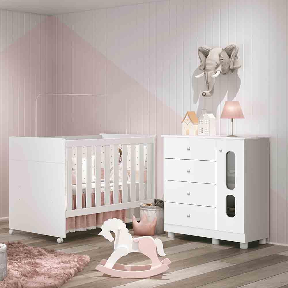 Quarto para Bebê com Berço Katatau + Cômoda Branca - Reller