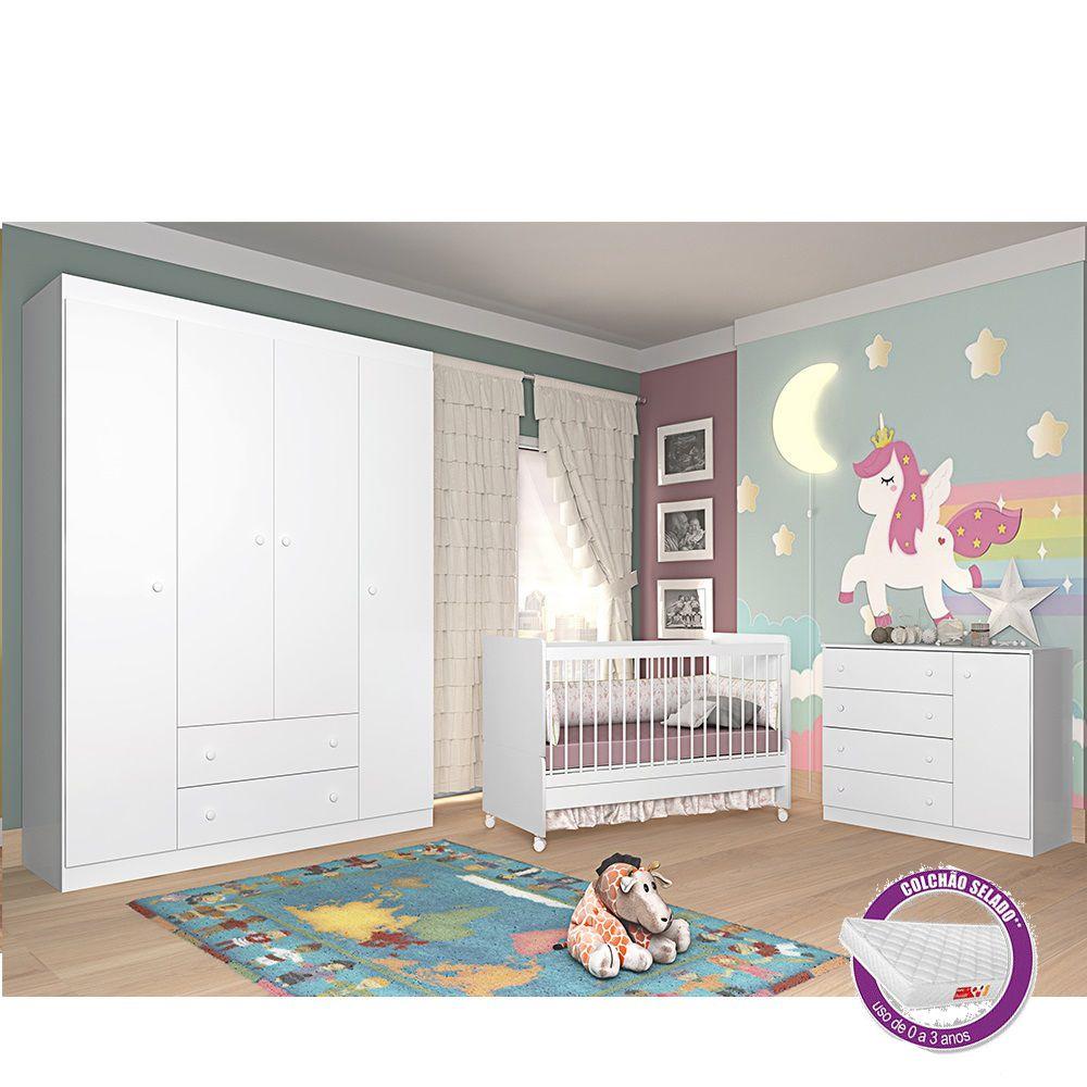 Quarto para Bebê com Berço Mini Cama SR + Colchão + Guarda Roupa + Cômoda Laura - Phoenix