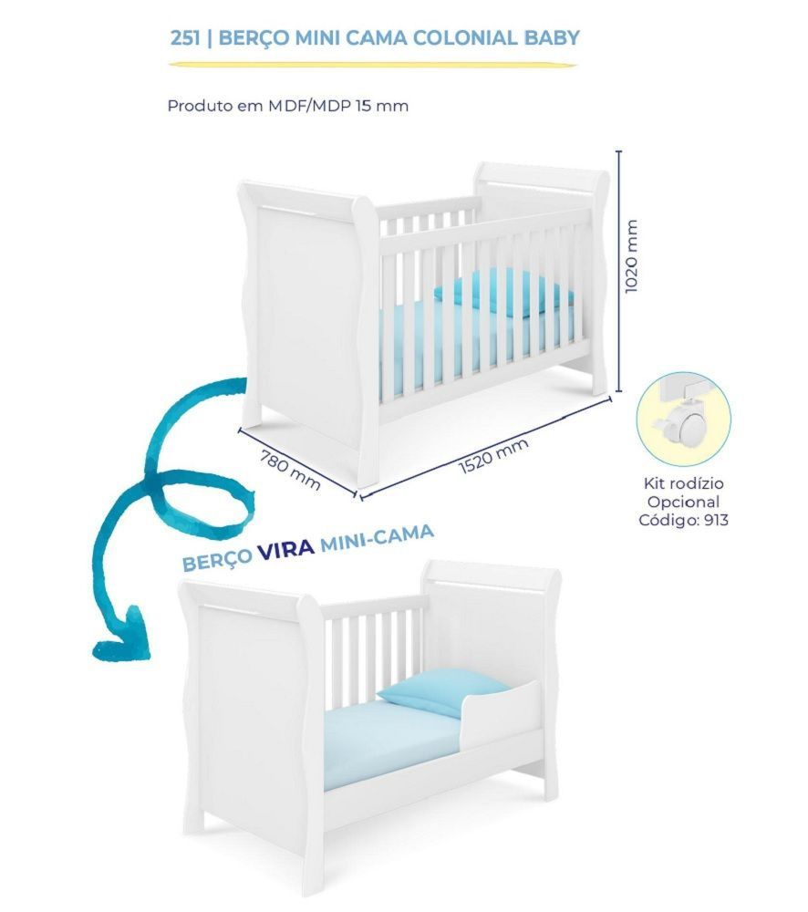 Quarto para Bebê Guarda Roupa 4 Portas + Cômoda Livia + Berço 251 - Phoenix Baby