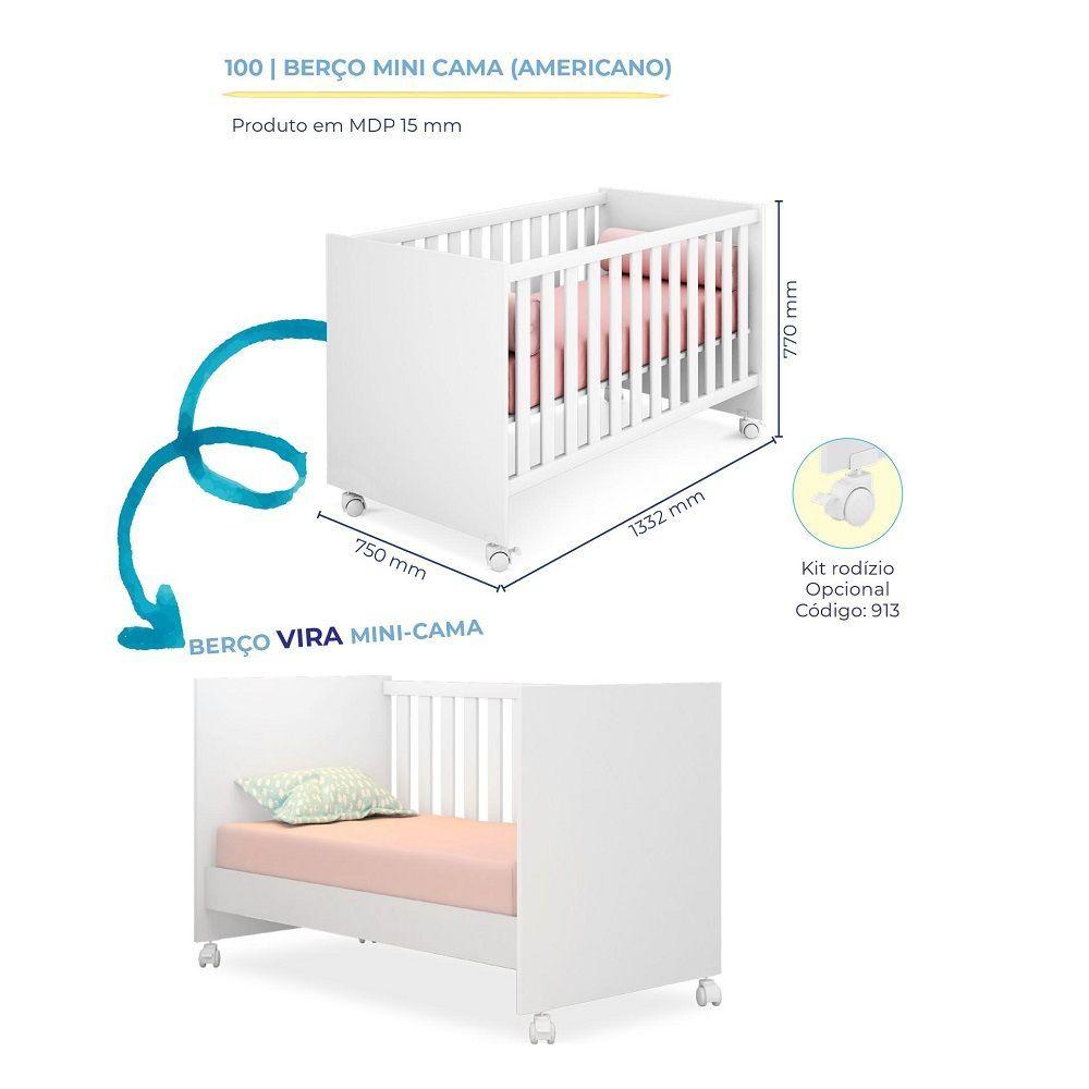 Quarto Para Bebê Helena Com Guarda Roupa 4 Portas + Cômoda + Berço Mini Cama 100 - Phoenix Baby