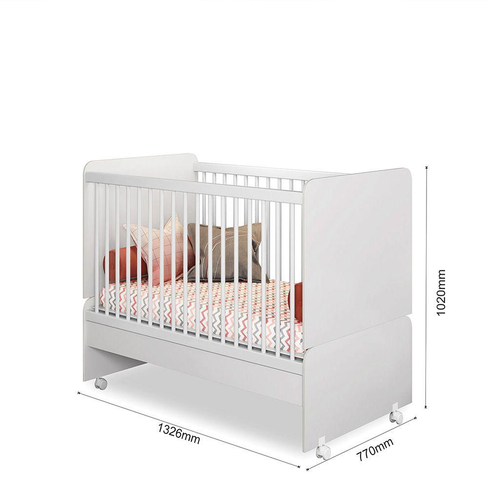 Quarto para Bebê Emile Slim com Guarda Roupa 4 Portas + Cômoda + Berço Mini Cama SR