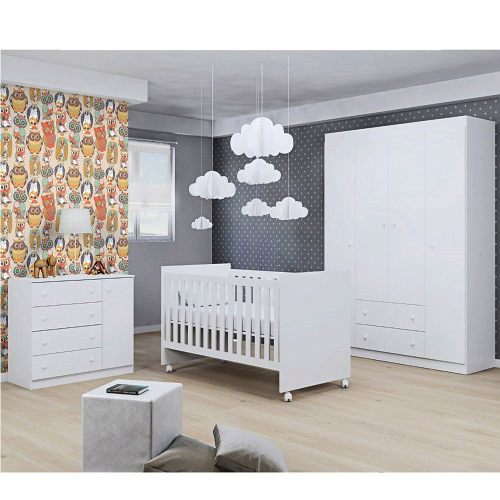 Quarto Para Bebê Laura Com Guarda Roupa 4 Portas + Cômoda + Berço Mini Cama 100 - Phoenix Baby