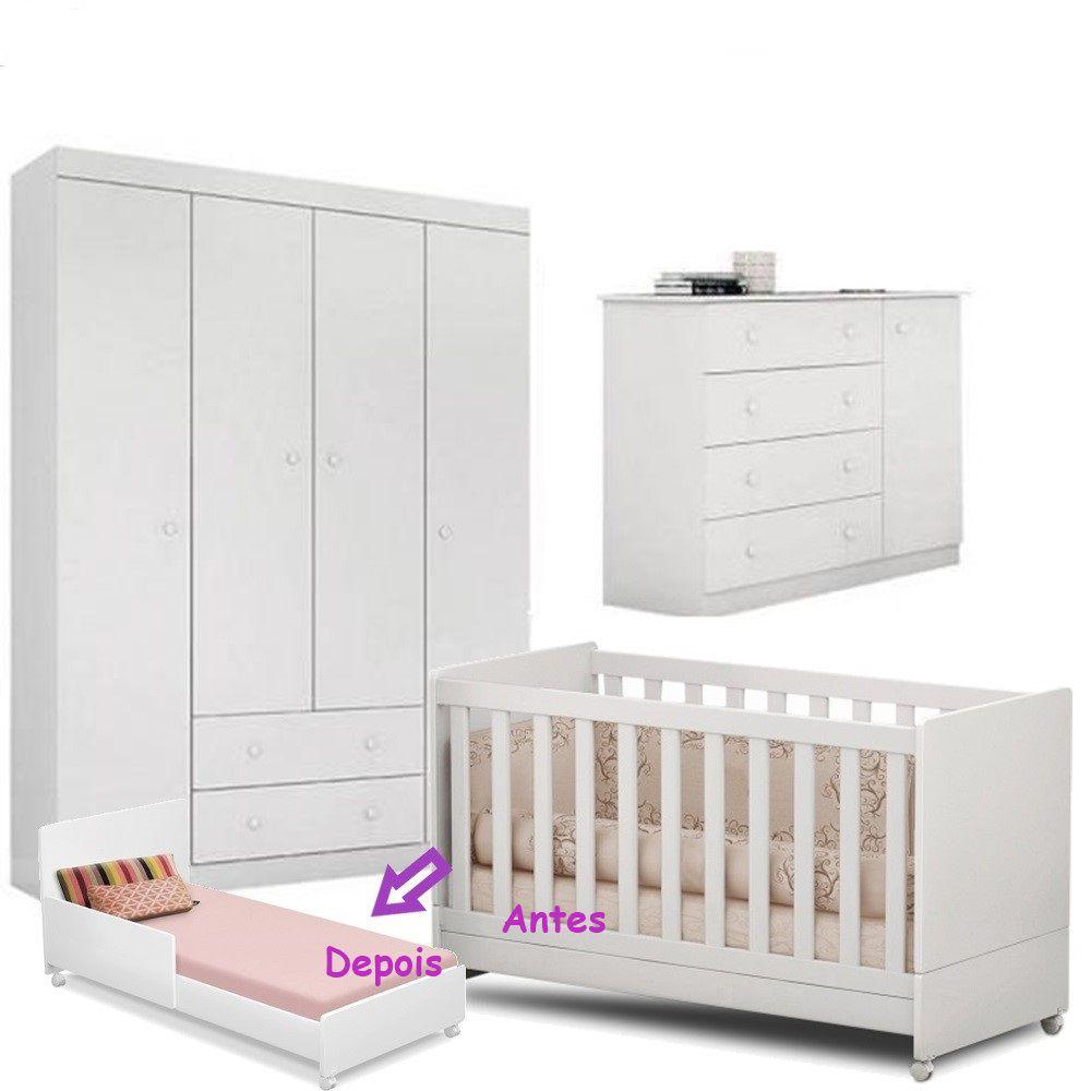 Quarto de Bebê Helena Guarda Roupa + Cômoda + Berço Mini Cama - EM Móveis