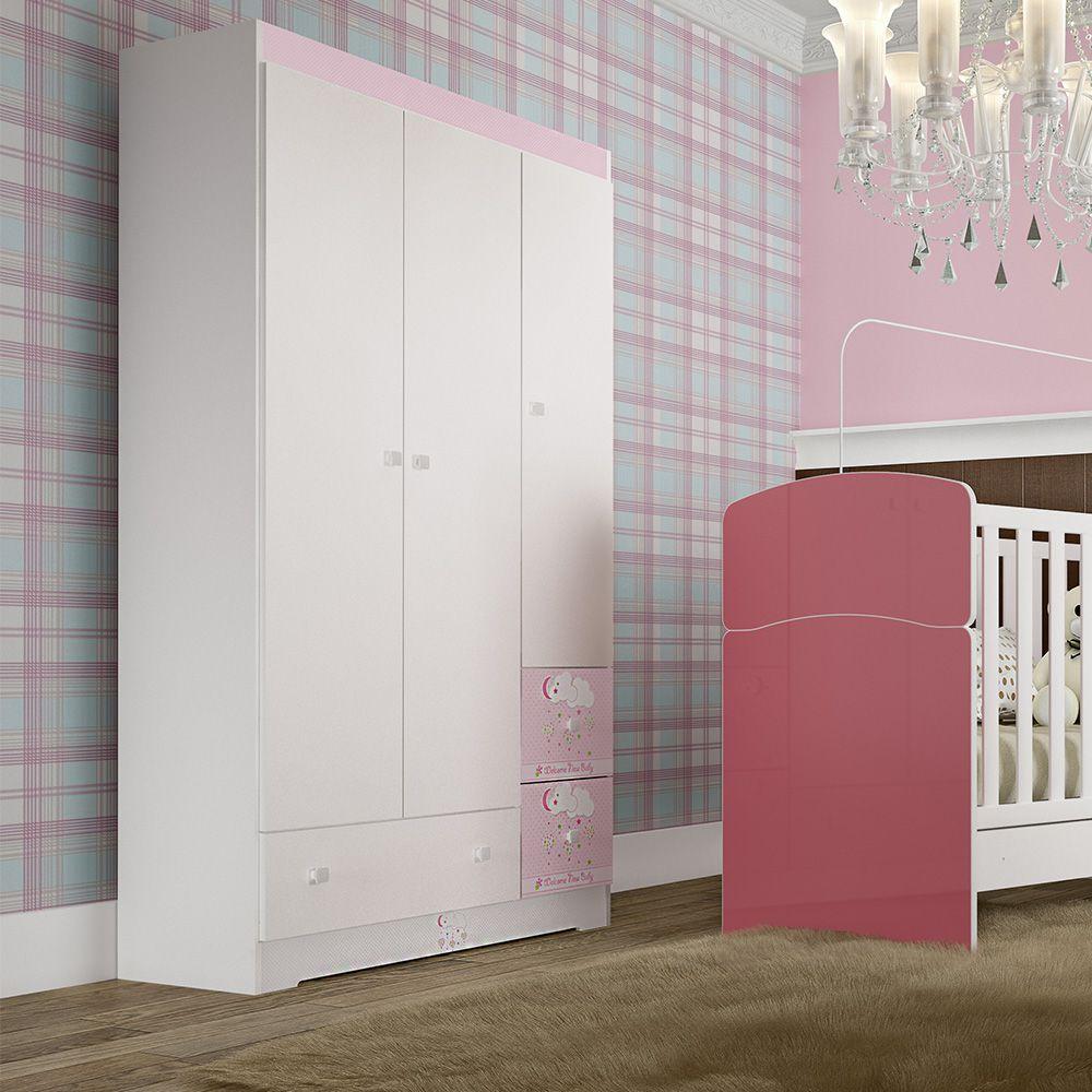 Roupeiro Infantil 03 portas, 03 gavetas Branco BB 830 Completa Móveis