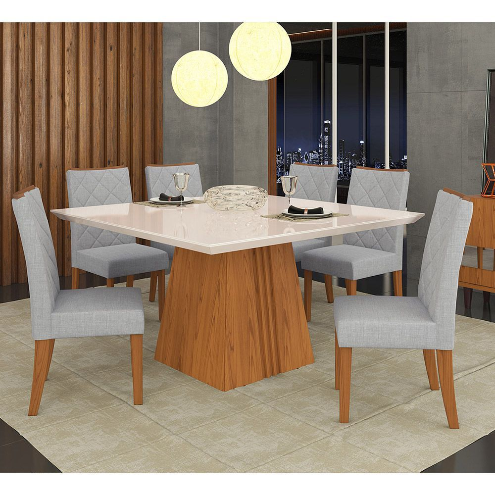 Sala De Jantar Mesa Itália Tampo Madeira Chanfrado Com Vidro + 8 Cadeiras Golden - Dj Móveis
