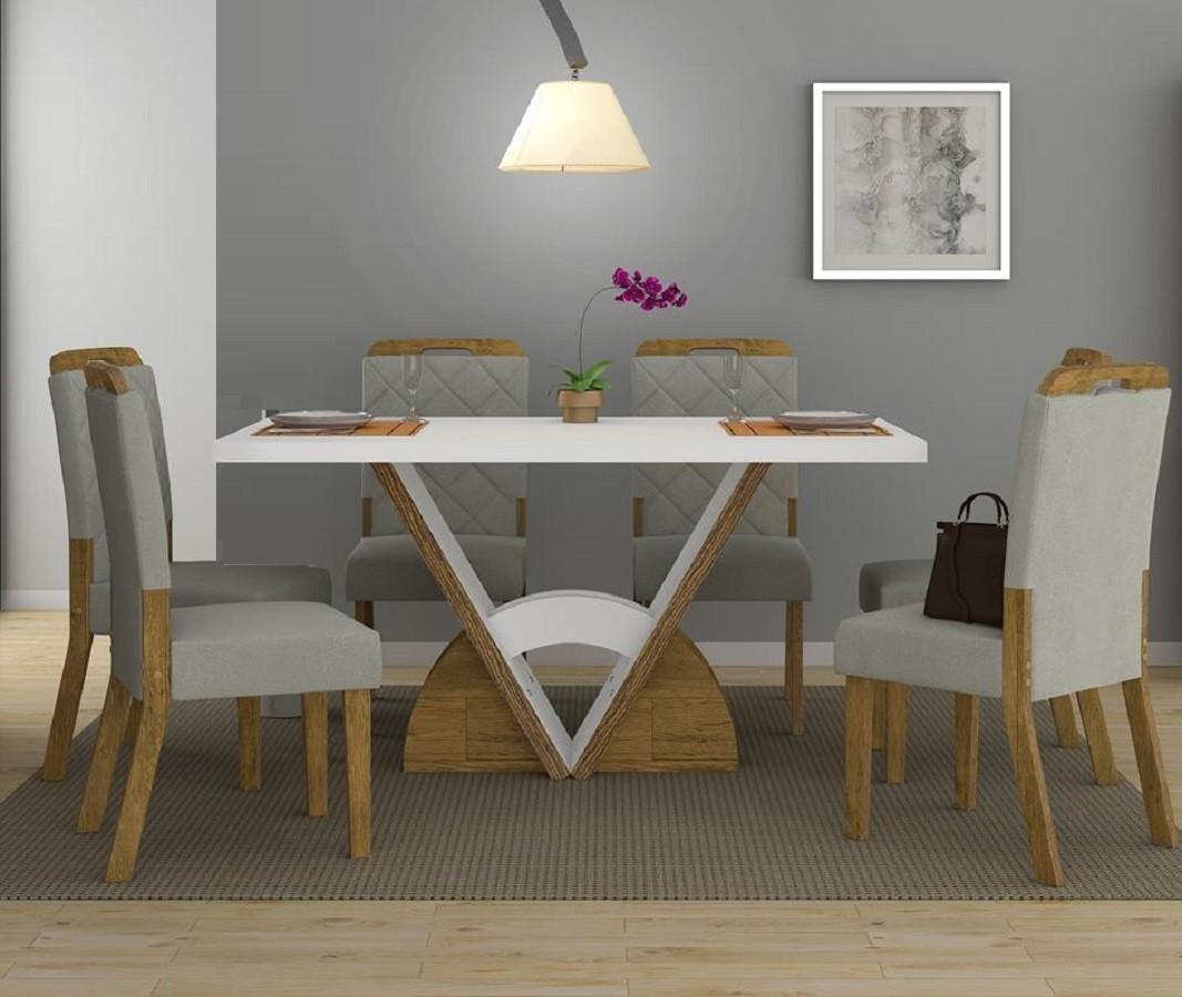 Sala De Jantar Mesa Veneto Com Tampo De Madeira + 6 Cadeiras Nevada - Dj Móveis