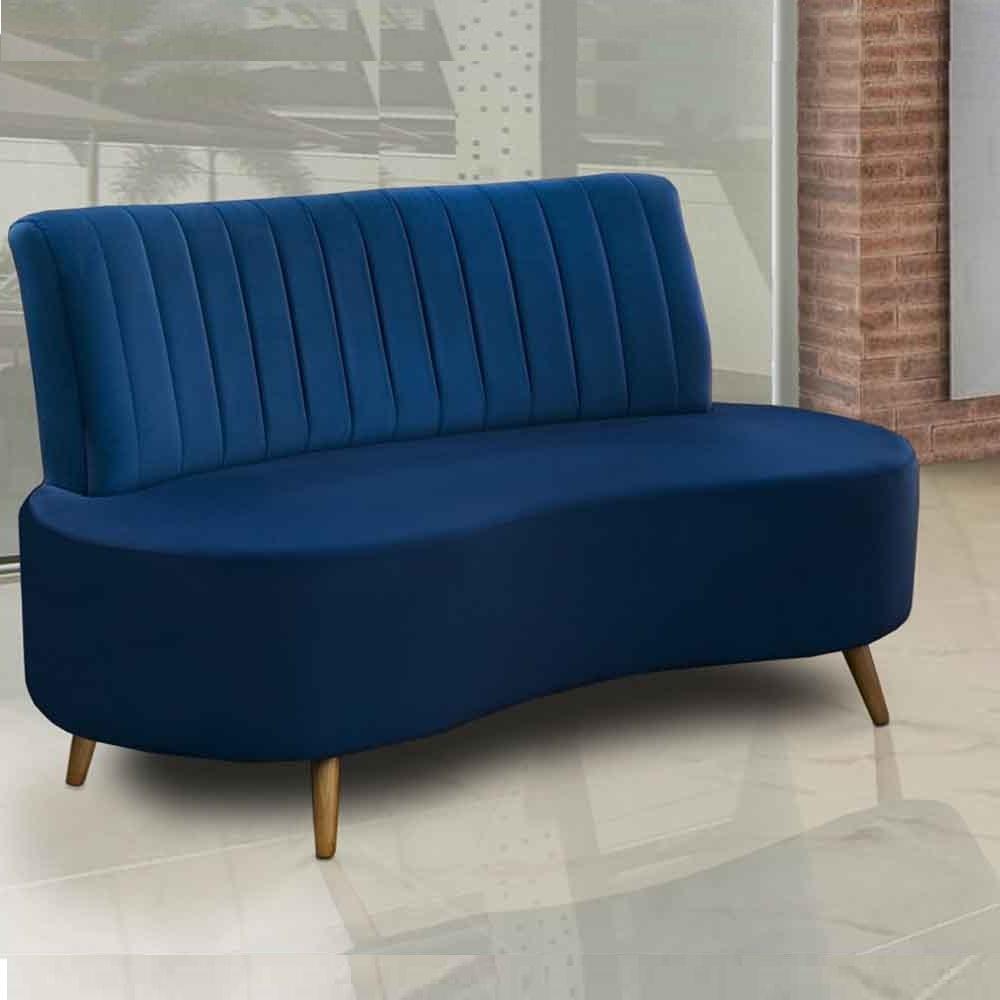 Sófa Living Qatar 1,35 cm Pés Retro - Azul