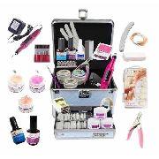 Maleta Manicure + Kit Unha Gel Acrigel Lixadeira Gel Primer