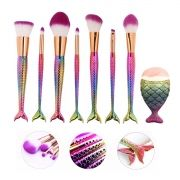 Kit 7 Pincéis para Maquiagem Sereia Colors com 1 pincel de contorno