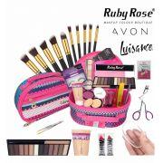 Maleta frasqueira com maquiagem Avon Ruby Rose completa