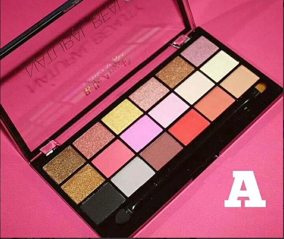Box 12 un. Paleta De Sombras 18 Cores B049 / B050 Natural Beauty Belle Angel