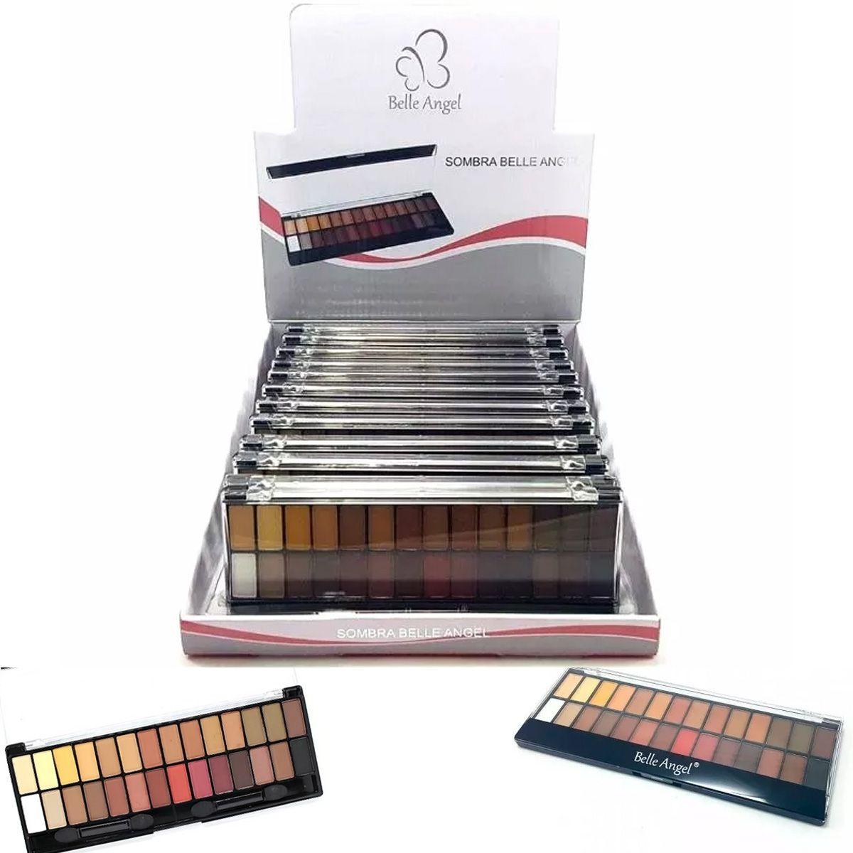 BOX 12 UN. Paleta de Sombras Matte 28 Cores Belle Angel B013
