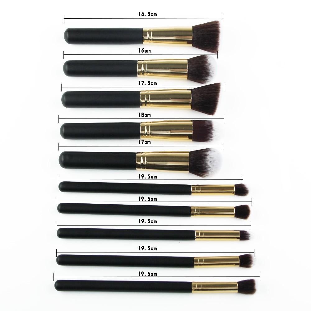 Kit de 10 Pincéis KABUKI, Branco, Rosa, Preto com Dourado