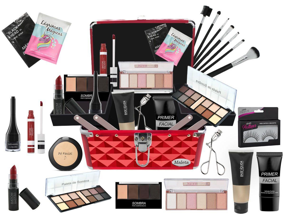 Maleta de Maquiagem Completa Luisance Corretivo e Iluminador BZ15