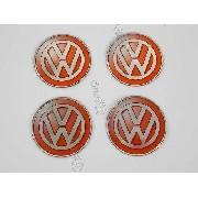Adesivo Emblema Roda Resinado Volkswagen 48mm Vermelho Cl25
