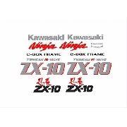 Kit Adesivo Kawasaki Ninja Zx-10 1987 Preta E Prata Zx1086pp