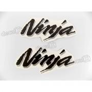 Adesivo Emblema Kawasaki Ninja Cinza E Preto Nin28
