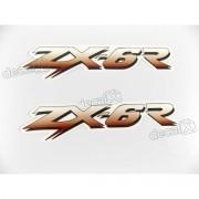 Adesivo Emblema Kawasaki Zx-6r Par Zx6r7