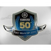 Adesivo Emblema Resinado Yamaha 50 Anos 9x12 Cms
