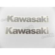 Adesivo Emblema Tanque Kawasaki Prata Par Pra01