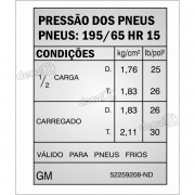 Adesivo Pressao Pneus Gm Opala Caravan Opl16
