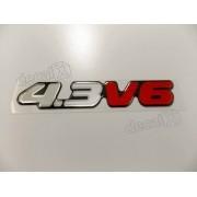 Emblema Adesivo Resinado Chevrolet S10 4.3v6 2000 Prata