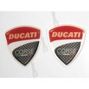 Emblema Adesivo Resinado Ducati Corse 2,5x2,5 Par Rs5
