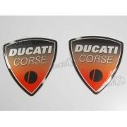 Emblema Adesivo Resinado Ducati Corse 5,5x5,0 Par Rs7