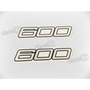 Faixa Emblema Adesivo Rabeta Kawasaki 600 Branco Par