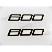 Faixa Emblema Adesivo Rabeta Kawasaki 600 Preto Par 600a1