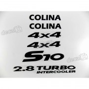 Jogo Emblema Adesivo Resinado S10 Colina 4x4 Kitr10