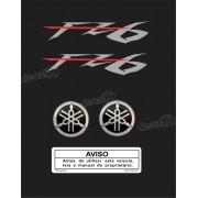 Kit Adesivo Emblema Yamaha Fazer Fz6 + Logo Resinado Fz6n601
